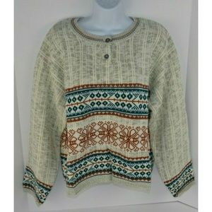 Vtg 1980s Nordic Print Crop Sweater